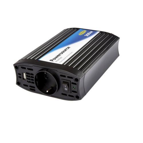 Omvormer 12V DC - 230v AC 300W met 2.1A USB Ring Automotive
