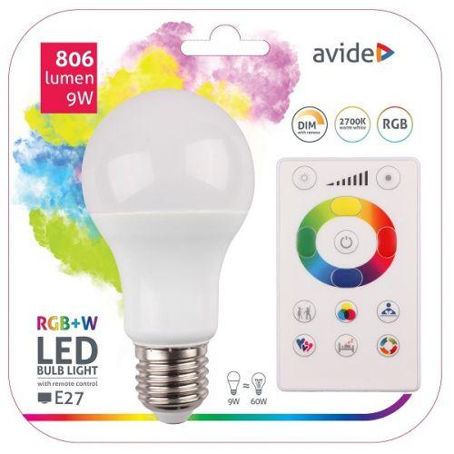 LED Smartlamp 9 Watt E27 RGB-W met afstandsbediening