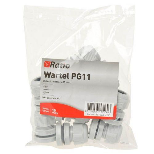 Wartel PG11 met moer per stuk