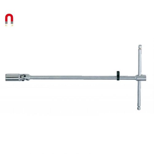 """Bougiesleutel 3/8"""" magnetisch met kniegewricht 16 mm T-greep 800 mm"""