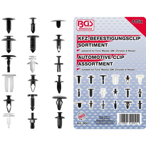 Auto clips voor Ford, Mazda, GM, Chrysler, Nissan 415-delig BGS