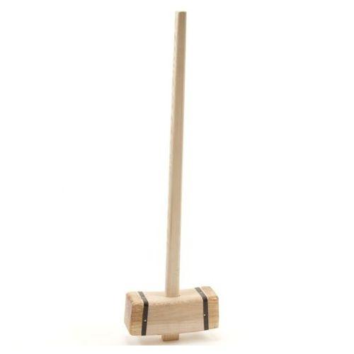 Tuinhamer hout vierkant, met steel 110 cm.