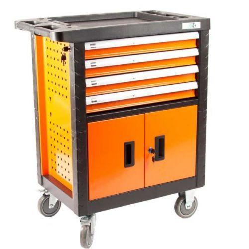 Gereedschapswagen 4 laden en kast oranje