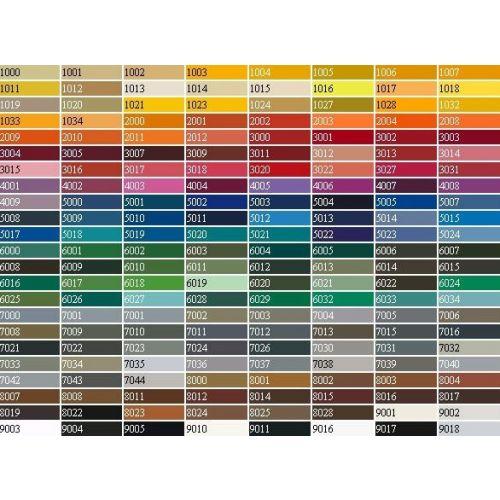 Referentietabel met RAL-kleuren. Deze RAL-kleuren zijn te bestellen in lakstift en spuitbus.
